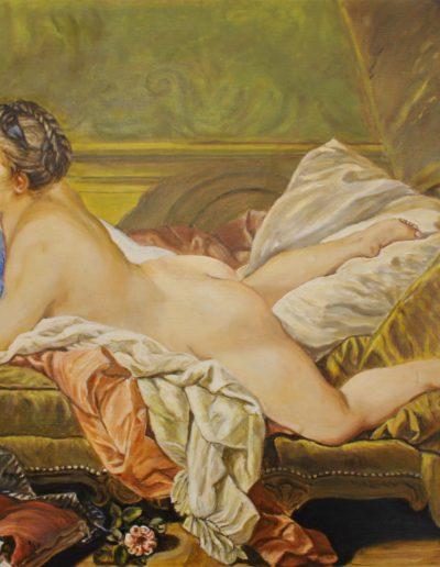 Etude de nu étendu d'après F. Boucher | Peinture à l'huile