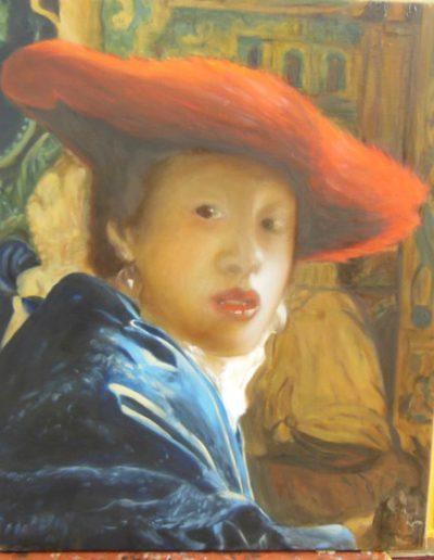 cours peinture classique paris - Huile sur toile - Geneviève Sallet d'après J. Vermeer | cours de peinture paris