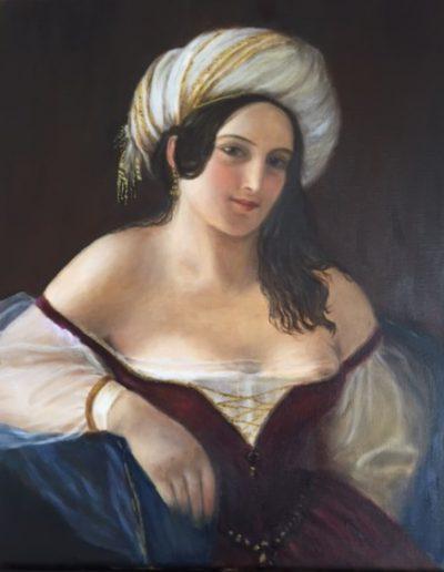Huile sur toile - Odile recourbet, d'après Schiavone | cours peinture paris