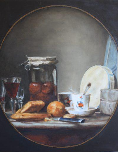 Huile sur bois - Alain Hesling d'après Chardin | cours peinture paris