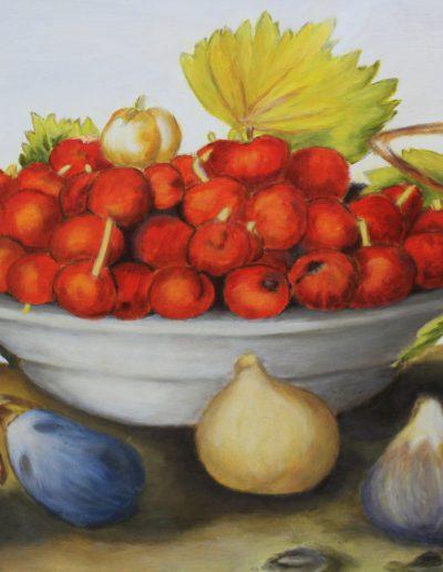 Huile sur toile - Nicole Galanopoulos, corbeille fruits | cours et stage peinture paris