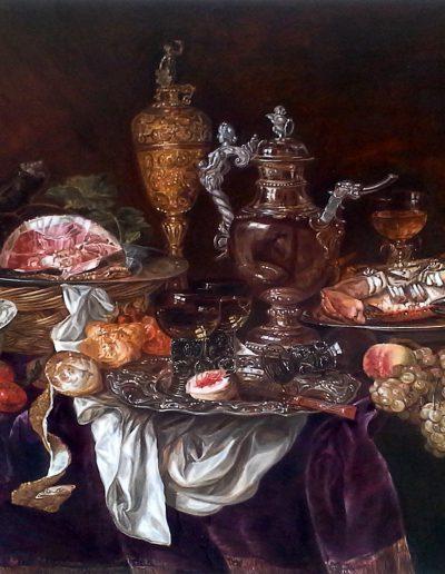 Huile sur bois - Atelier Baroque - Caroline Yé d'après Van Beyeren