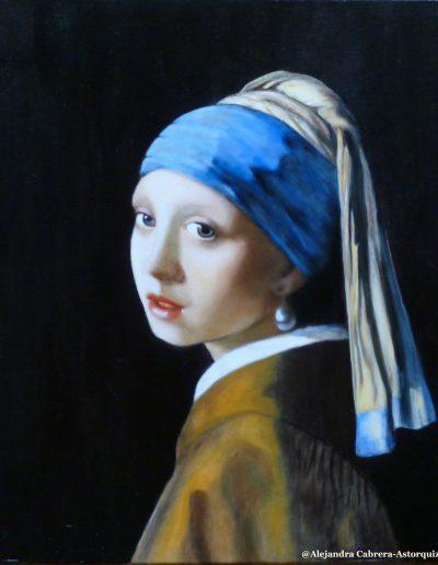 Jeune fille à la perle d'après J. Vermeer par Alexandra Astorquiza
