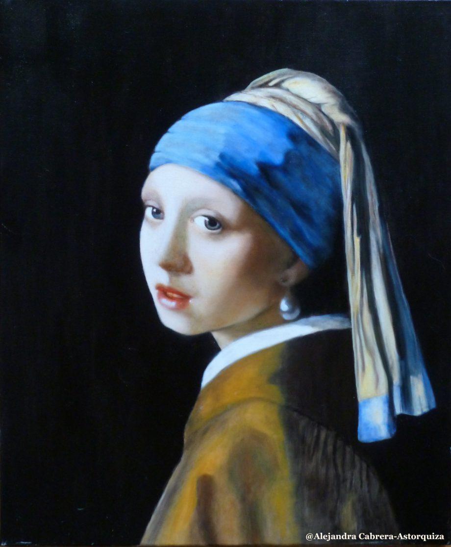 Copie de tableau | Jeune fille à la perle J. Vermeer | Alexandra Astorquiza