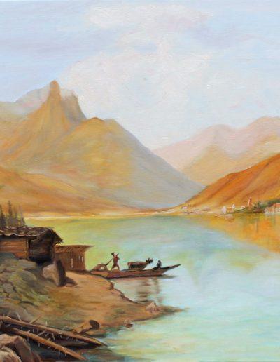 Huile sur toile d'après paysage du 19° par Jean R. | cours de peinture à paris